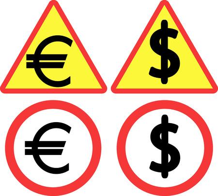 euro symbol: road sign and dollar and euro symbol