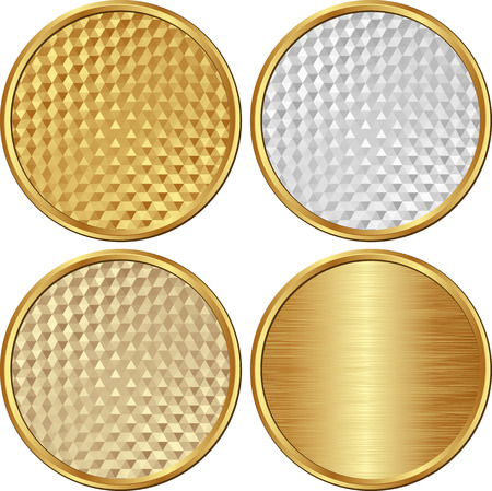 set of golden round banners