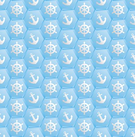 grapnel: blue pattern seamless with nautical symbols