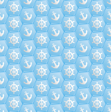 blue pattern seamless with nautical symbols