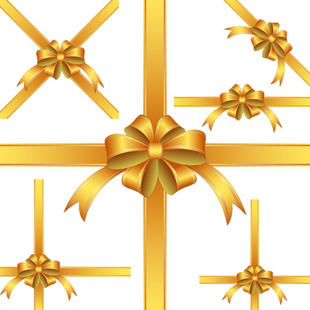 golden ribbon: set of isolated golden ribbon and bow for gift