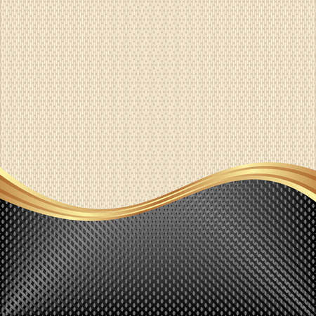 beige backgrounds: beige and black background with golden divider Illustration