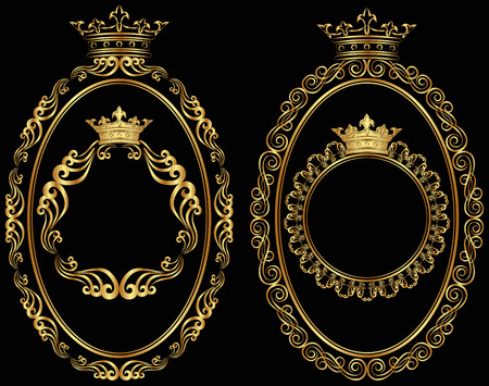set of golden borders with crown