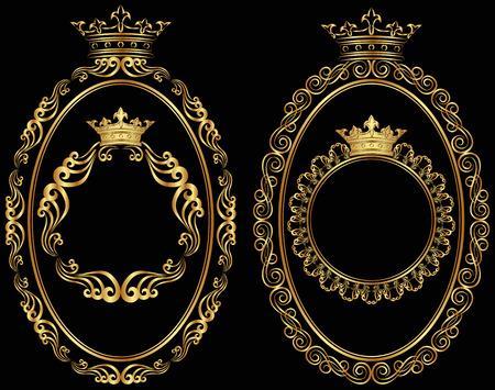 óvalo: conjunto de las fronteras de oro con la corona Vectores