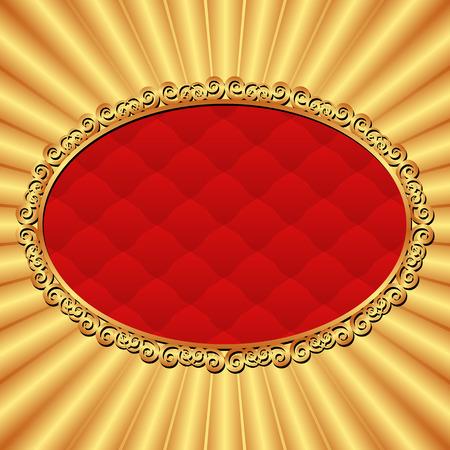 shone: golden and red background with vintage frame Illustration