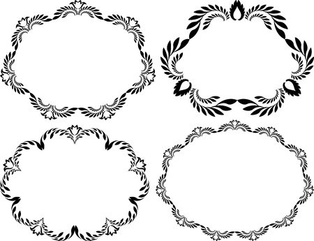 creative arts: set of isolated floral frames