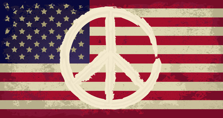 peace flag: USA flag with peace sign Illustration