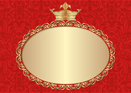 claret: red background with golden frame and crown