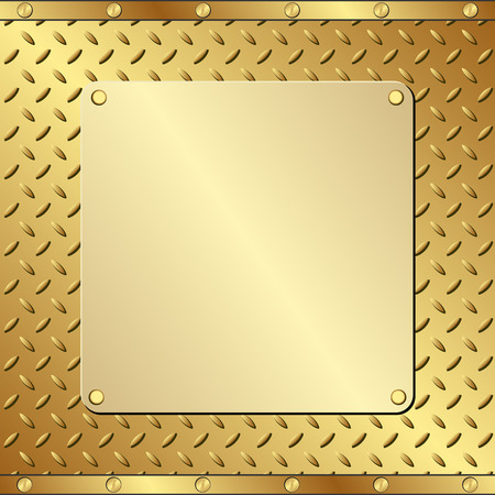 plaque: placa de oro sobre fondo de textura