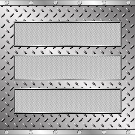 steel sheet: three textured plaques on steel sheet