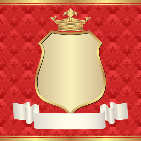 claret red: red background with golden frame and crown