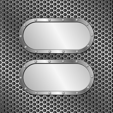 tread plate: two metallic banners on grille texture Illustration
