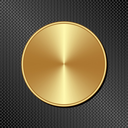 black textured background: golden plate on black textured background Illustration