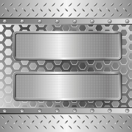 metal grate: three textured banners on steel background