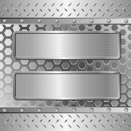 tre banner con texture sullo sfondo in acciaio Vettoriali