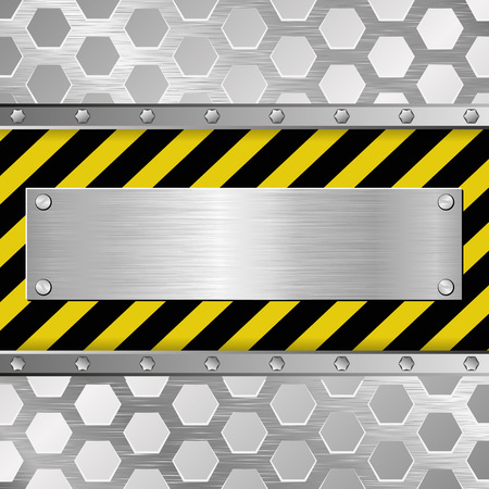 barrier tape: metallic plaque on warning background