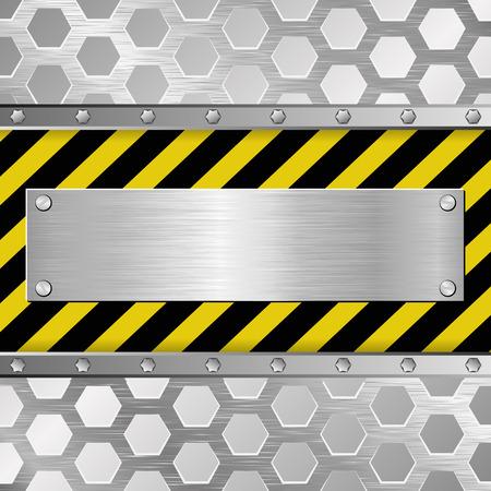 barrier tape: metallic plaque on warning background