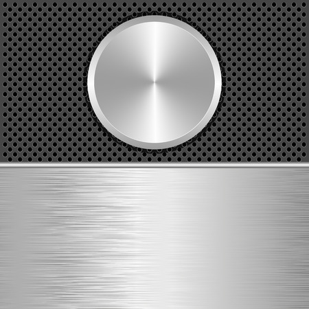 brushed aluminum: steel and black background with round banner