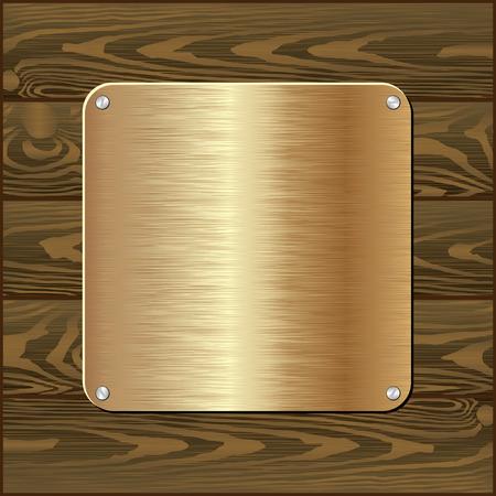wooden plaque: golden plaque on dark wooden wall