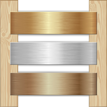 nailed: golden, silver and bronze plaques nailed to wooden planks
