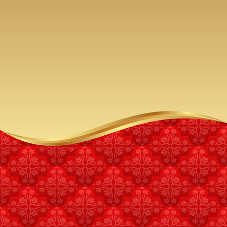 red and golden background with vintage pattern Vector