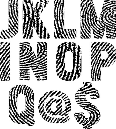 fingermark: font in shape fingerprints Illustration