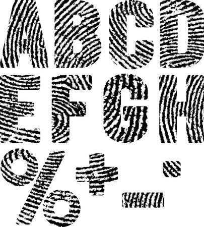 thumbprint: font in shape fingerprints Illustration