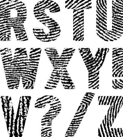 fingerprints: font in shape fingerprints Illustration