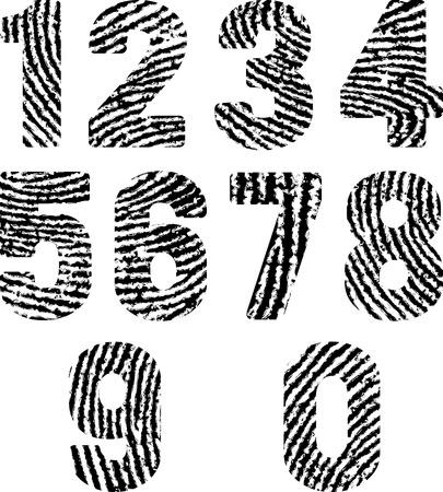 fingermark: font in shape fingerprints Illustration