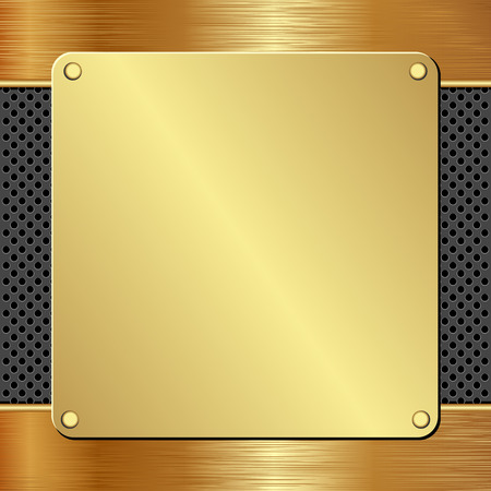 brass plate: golden plaque on black textured panel