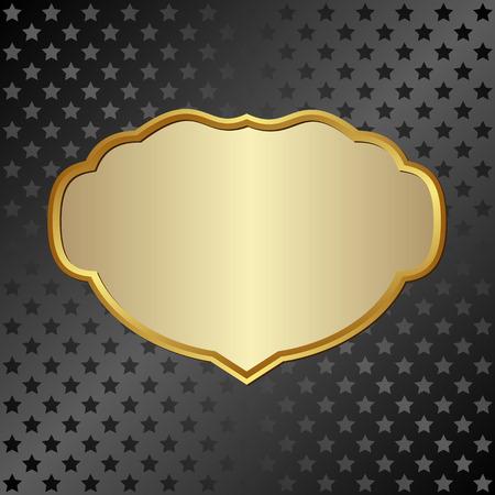 Marco de oro en fondo negro con estrellas Foto de archivo - 39927287