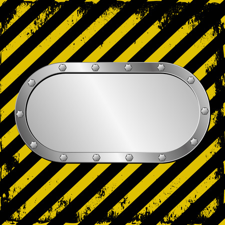 hazard tape: danger background and metal plaque Illustration