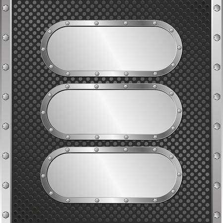 black textured background: three steel banners on black textured background