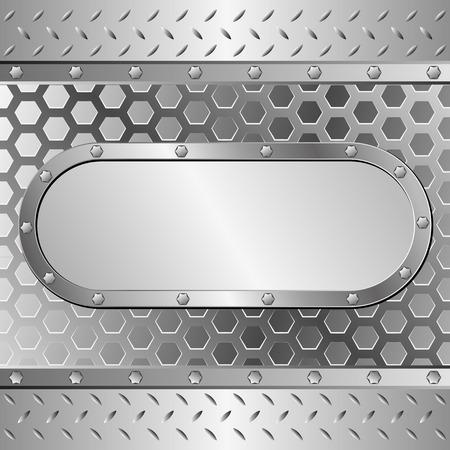 metallic: metallic background with steel plaque Stock Illustratie