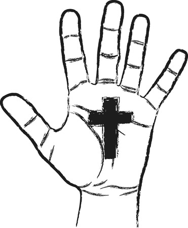 christianity: hand with cross symbol of christianity Illustration