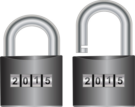 numerical value: isolated padlock open and closed Illustration