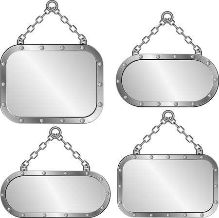 set of isolated metal plaques hanging on a chain Illustration
