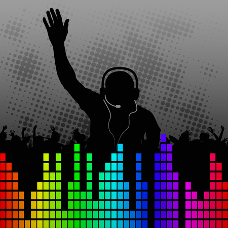 dj: fun background with silhouette DJ Illustration