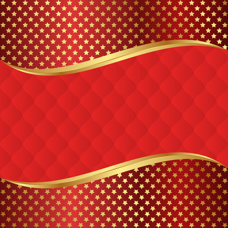 red background with golden stars Vector