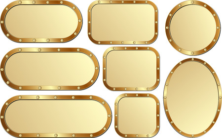 brass plate: set of isolated golden plaques