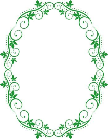 ovalo: silueta marco floral