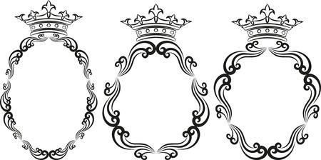 ovalo: silueta de marcos reales Vectores