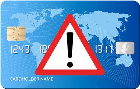 dangers: card credit with danger sign