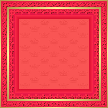 fete: red background with vintage frame and crowns pattern Illustration