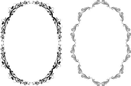silhouette of oval frames Stock Illustratie