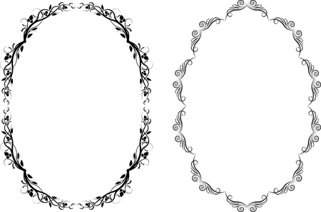 oval: silhouette of oval frames Illustration