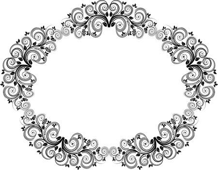 ovalo: silueta de marco floral