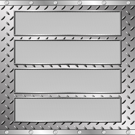 steel sheet: four textured plaques on steel sheet