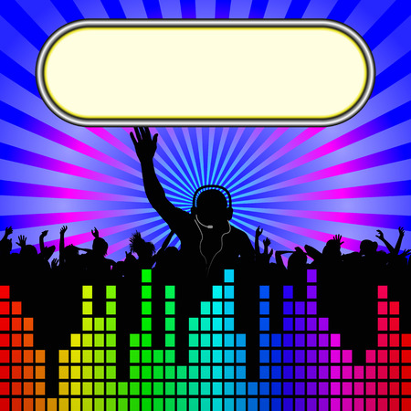 disco background: background with DJ and dancers silhouette Illustration