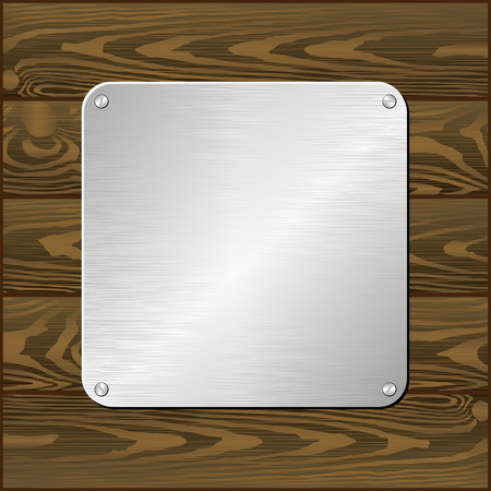 mahagoni: silver plaque on dark board Illustration